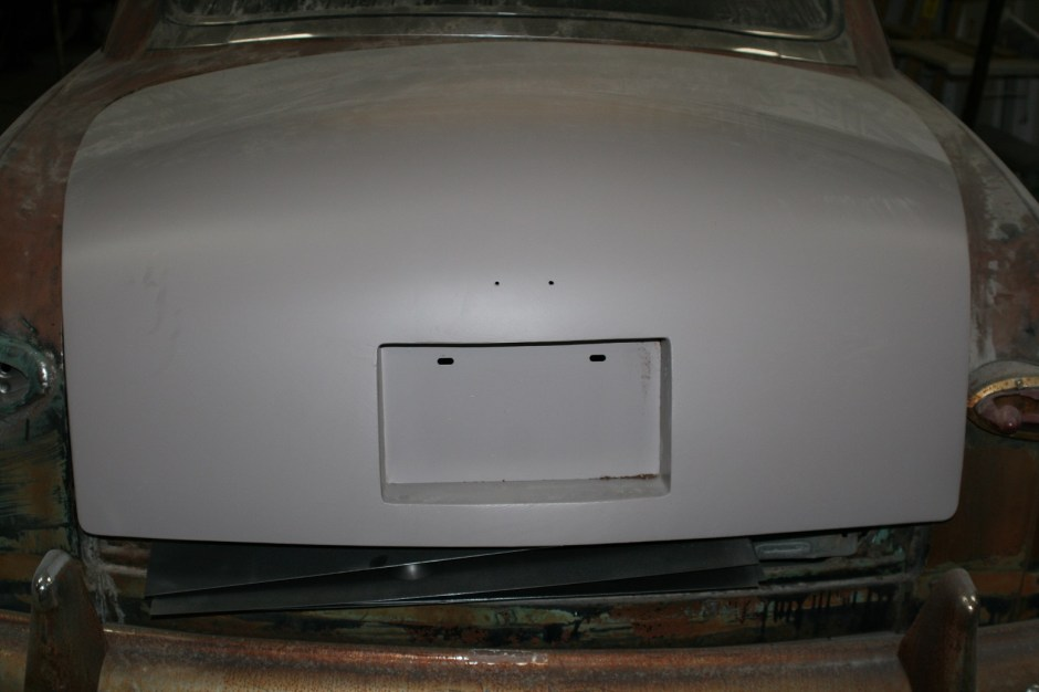 20. The trunk lid in primer. Next is paint, which will come well after the rest of the car gets built.