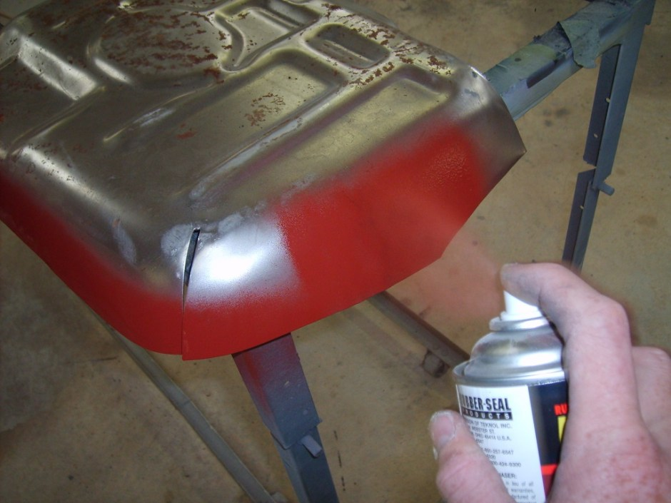 7. The panel was sprayed with Rubber-Seal weld-through primer on the outer edges.