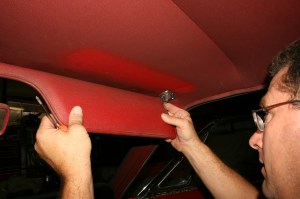 4.Moving to the interior, the trim pieces such as the visors, seat belt straps and rear view mirror were removed.