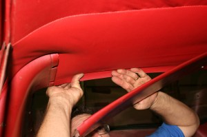 18.For the rear, the headliner is kept in place by the rear sail panels. There are some vehicles that were mounted under the glass, like the front, requiring the back glass to be removed as well.