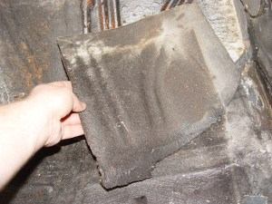 5.This piece came off as a sheet, showing the ineffectiveness of the OE mat.