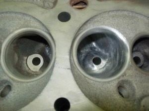 12.When completed, the intake and exhaust bowls should look like this. Note the radical reshaping of the valve guides.