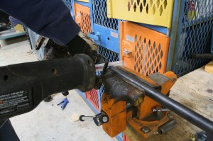 """13.We wanted a 30"""" column, so we cut the steering shaft at 31 inches. A sawzall made quick work of the shaft."""