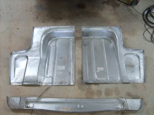 04.Replacement sheet metal can be found for most makes and models, but often only in sections. This floor pan for a '51 Ford Shoebox came in three pieces, which have to be sectioned together in the car. This is one of the trickiest jobs for the beginner.