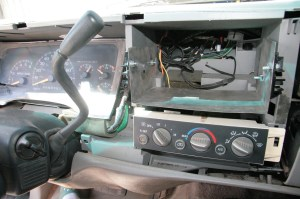 The sliders were bolted to the steel cradle and slid into the dash for a test fit, just right.