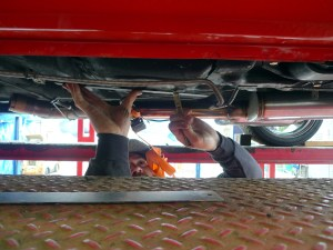 According to the instructions, measurements should begin at the rocker panel pinch welds. Providing the car has not been damaged; or worse yet; damaged and previously repaired in these areas, the recommended procedure is the way to go. This car is no virgin, so Jeremy double-checks using his own alternative measuring points.