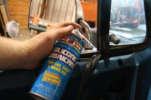 7.To aid in the installation of the window channel rubber, the steel channels were lubricated with some silicone spray from Justice Brothers. Don't spray the rubber itself, that will only make the install more difficult (it will slip in your fingers).