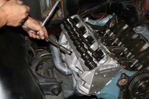16.There are 3 sizes of bolts for the Pontiac 400, so pay attention. The bolts are snugged up tight, but not torqued yet.