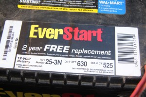 1. Every battery has a description tag with the voltage and amperage ratings. This conventional battery provides 630 Cranking Amps, and 525 Cold Cranking Amps. This battery has the juice to start your average stock small-block. Add in more compression, and it may have a hard time spinning the starter fast enough. Note the warranty; cheap batteries don't last as long as the more expensive quality brands, so take the warranty into consideration before you buy, especially if the car will sit for long periods.