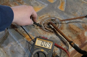 11.We also checked continuity from the ground tab to the end of the ground wire, which was good.