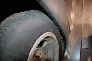 03.This rear tire on a 1951 Ford Shoebox rubs the outer wheel lip because the backspacing on the wheels is too shallow.