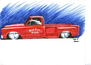 If you are feeling saucy, go to work with some colored pencils, or markers, like Kyle did on this rendering for this truck project.