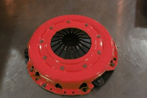 The typical pressure plate is a diaphragm design, like this one.
