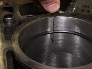 """5. We used .022"""" on the top ring, .025"""" 2nd, and .015"""" for the oil rings. This was checked with the rings 1"""" down in the bore, squared with a piston."""