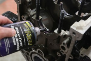 10. Before the crank was lowered into the block, all the bearings were coated with Royal Purple Max-Tuff assembly lube.