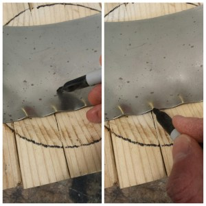"""Cut your steel into a 4 inch wide strip about 20 inches long. To start shaping, lay the edge of the metal in-line with your marker line on the block (not pictured). Strike your mallet about an inch just inside the bowl with enough force to dent in the steel and ripple the edge. Do this down the entire length of the piece, and then repeat for the other side. The ripples, also known as """"puckers"""" or """"tucks,"""" should form down both edges of the entire piece (Figure 10). Continuing to work in the bowl, hammer (flatten) each tuck on the entire length of both sides. This gathers the steel and """"shrinks"""" it."""