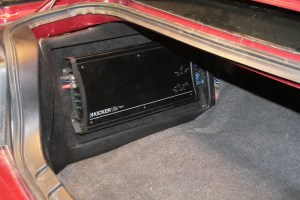 44. The amp rack was trimmed out with this custom-made plastic trim panel. This was made using a mold and thermoformer.