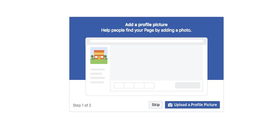 Facebook page setup add a profile image