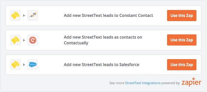 StreetText Zapier Integrations
