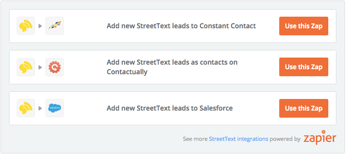 StreetText Zapier Integrations