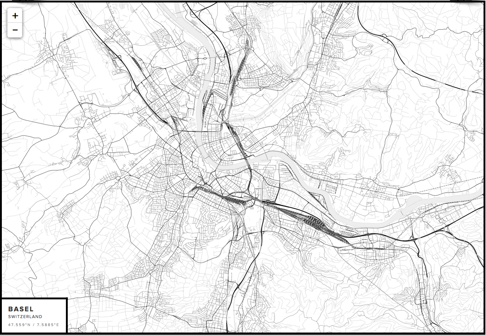 Blank Map of Basel