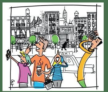 Ilustración del Tours Andando de Nueva York a Medida - grupo a pie en una calle de Nueva York