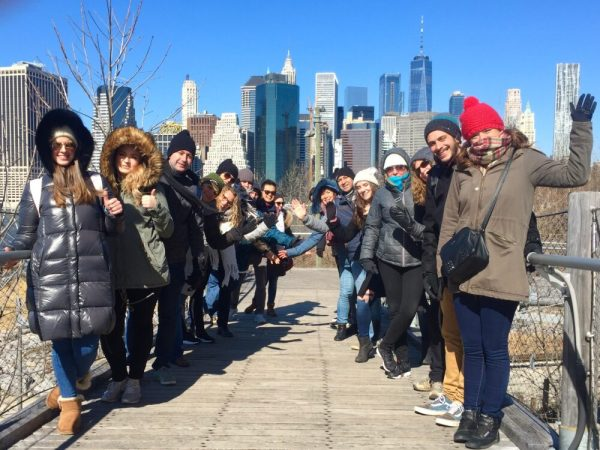 Tour Group in March on the Squibb Bridge