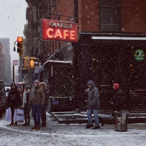 Fanelli Cafe  in Soho in the Snow in