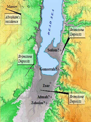 Map of 5 Cities - Sodom and Gomorrah