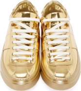 Jimmy Choo Gold Leather Portman Sneakers