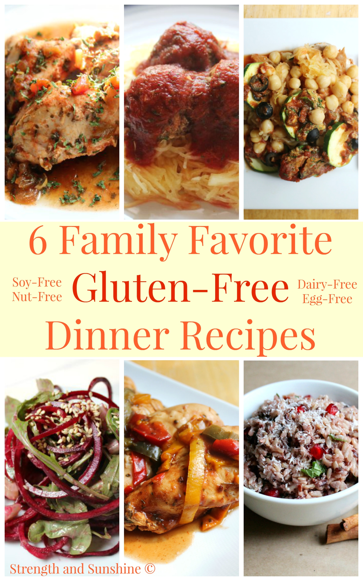 6 Family Favorite Gluten-Free Dinner Recipes | Strength and Sunshine @RebeccaGF666 Getting back to the table with 6 family favorite gluten-free dinner recipes. Amidst the chaos and hustle of the school year, gathering around the table for a nourishing, healthy meal with great company, laughs, and love is essential for reconnecting and de-stressing! Healthy meals that are also dairy-free, egg-free, soy-free, and nut-free!
