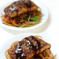 Citrus Ginger Salmon with Sticky Garlic Noodles (Gluten-Free, Top Allergen-Free)