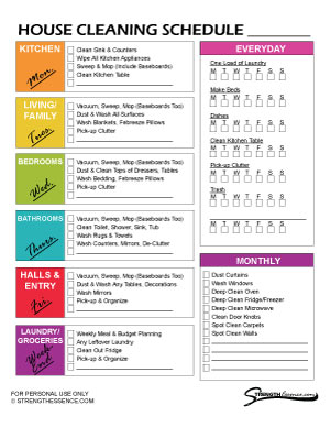 Lodge cleaning checklist download now; Free 2021 House Cleaning Schedule Template Printable Pdf Strength Essence