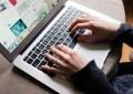 Girl Is Browsing Pinterest On Her MacBook Air