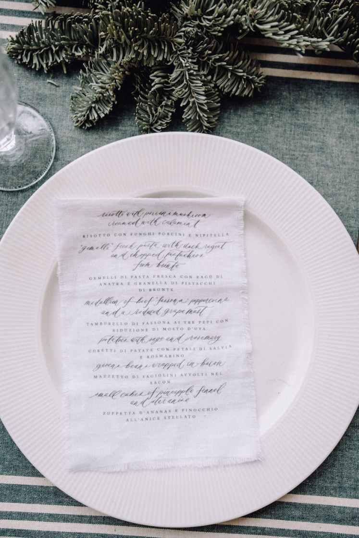 plate with napkin on christmas table