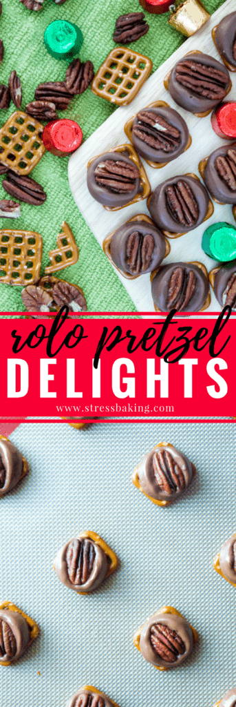 Rolo Pretzel Delights: Rolo Pretzel Delights are a super simple and quick holiday treat that only needs three ingredients: Pretzels, Rolos and pecans! | stressbaking.com