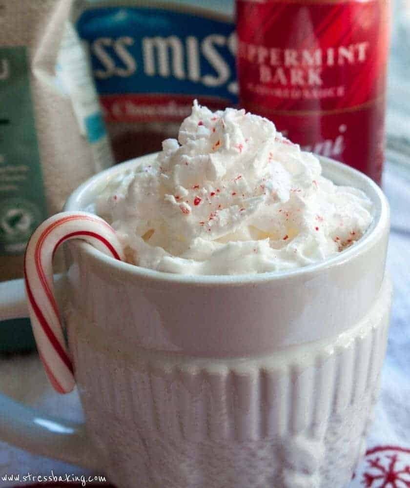 Peppermint Mocha: A spin on Starbucks' holiday favorite! Mint and chocolate come together to create the perfect cup of hot, creamy comfort.   stressbaking.com