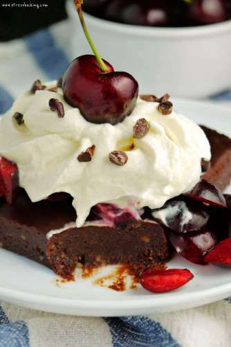 Black Forest No-Bake Date Brownie Sundaes