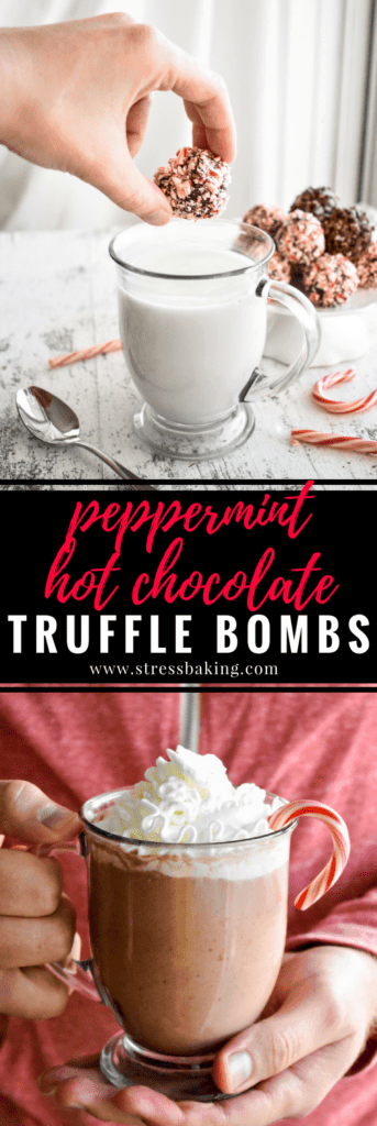 Peppermint Hot Chocolate Truffle Bombs: These festive little chocolate truffles are just waiting to be dropped in a mug of hot milk to create creamy and delicious peppermint mocha hot chocolate! | stressbaking.com