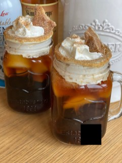 top with whipped cream and churro toffee
