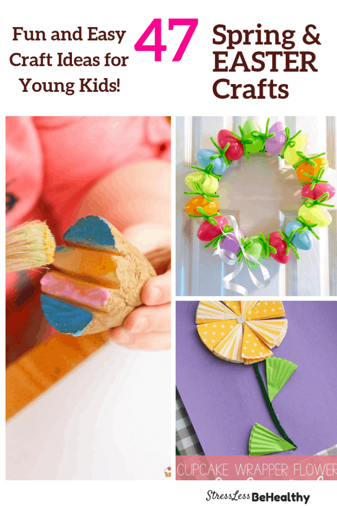 collage of adorable and easy spring and easter crafts for kids