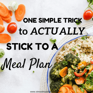 healthy bowl of food with quinoa and veggies, use this one trick to stick to your meal plan