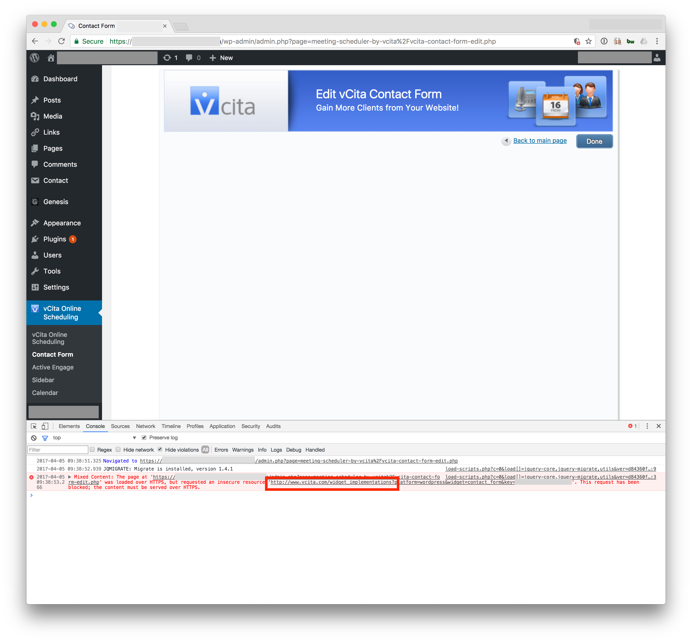 Screenshot of Mixed Content blocked by Chrome