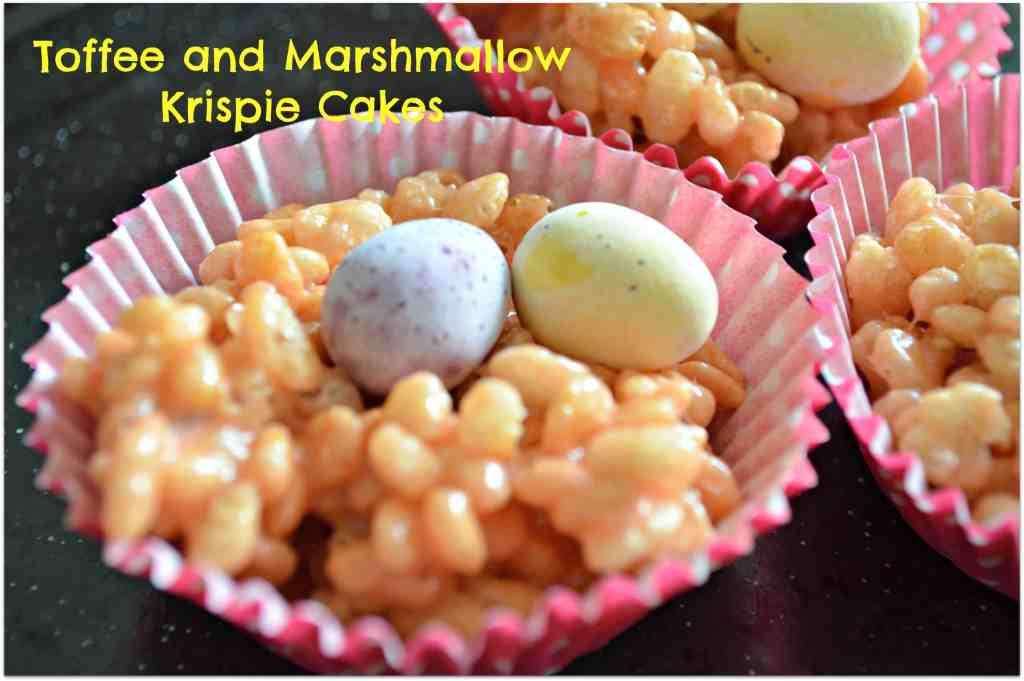 Marshmallow Toffee Rice Crispy Cakes