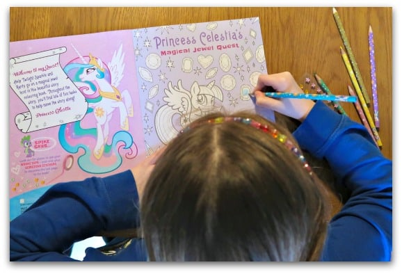 Colouring in with Princess Celestia in My Little Pony Colouring Adventures