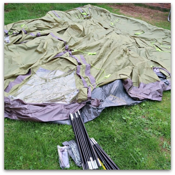 The Eurohike Rydall 600 is one single attached with three colour coded tent poles