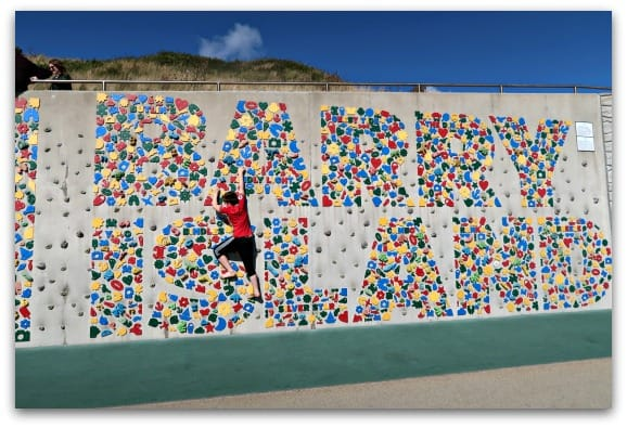 Just off the beach at Barry Island there is this climbing wall which is great fun for the kids