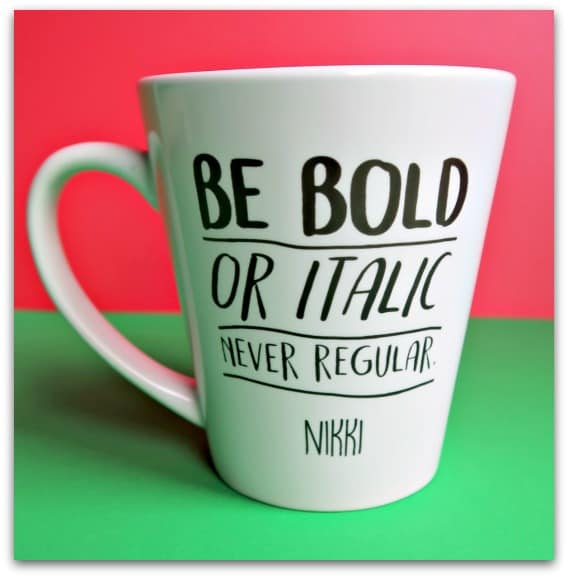Be Bold or Italic Latte Mug from GiftPup