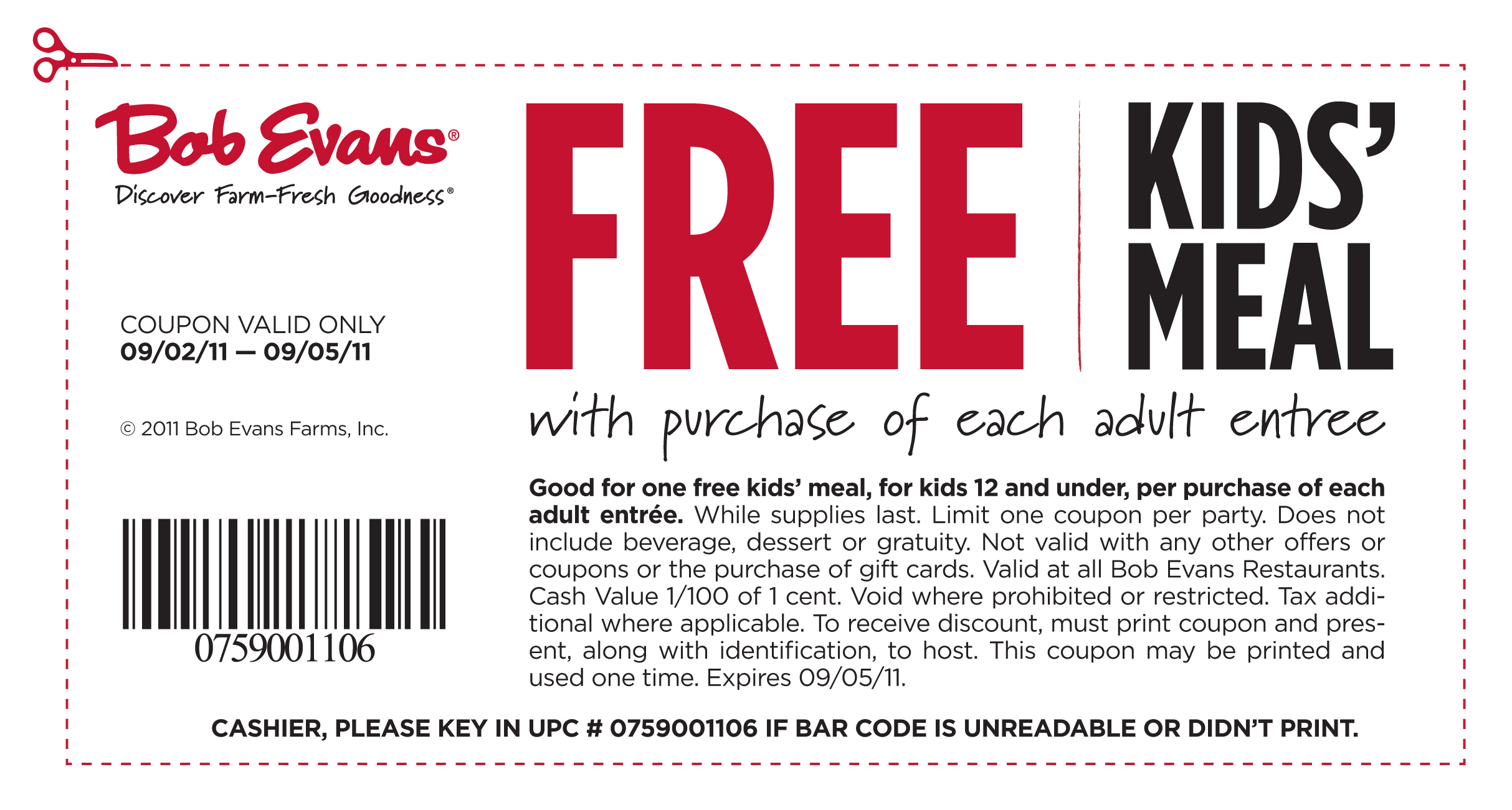 Bob Evans Free Kids Meal Coupon Valid Labor Day Weekend
