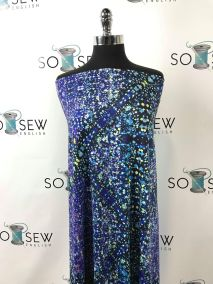 Peacock/Purple Abstract Dots swim fabric